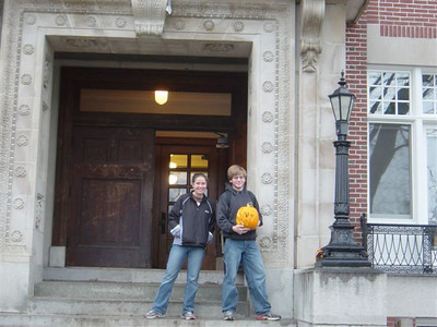 Claire and Joe in front of Robo fall 2004 - CnT pumpkin.