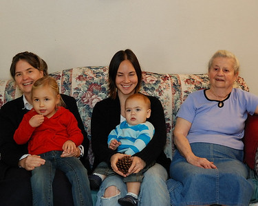 Four generations of mother/daughters.