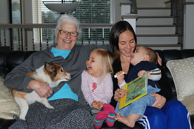 Aunt Maria, Frankie Emiko, and Montana with Tinkie at Maria's.
