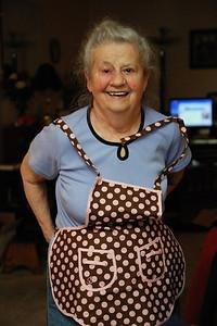 Mom with Frankie's apron.