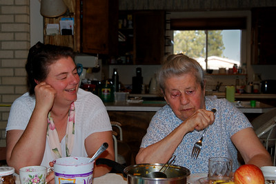 Jenny and Mom eating left overs from Thanksgiving.