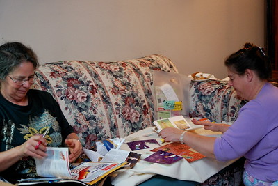 Linda and Jenny making a book for Frankie.