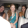 Jess G., Freddy and Lauren - excited bridesmaids.  Note the driver's soaking wet shoulder - note to self, use adult sized umbrella next time.