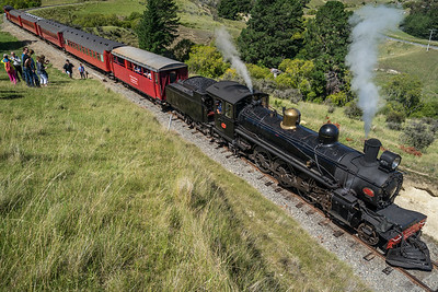 The train drops us off and then backs down the track so we can photograph it chuffing past.