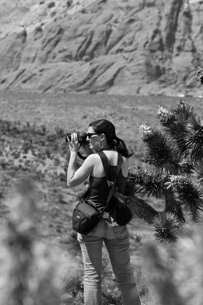 Wendy lookin all photojournalist-y in Red Rocks Canyon near Las Vegas.