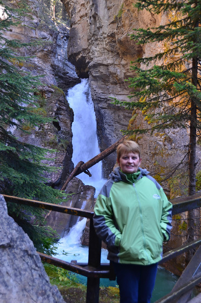 Mom at lower falls in Johnston Canyon.  We needed a rest.