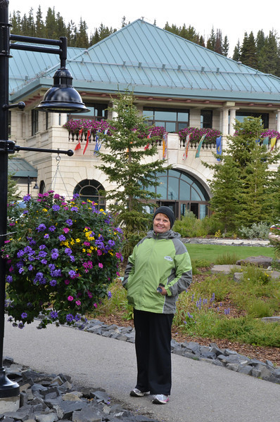 At the entrance to the Fairmont hotel in Lake Louise.  It was special, and how they keep the flowers so nice is a mystery.