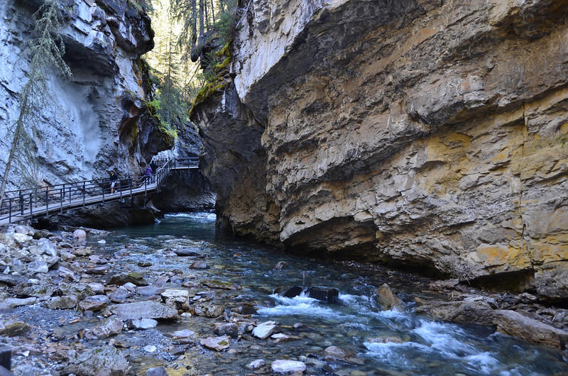 One of the catwalks going up Johnston Canyon.  The water was so clear it was hard to see, really like glass.