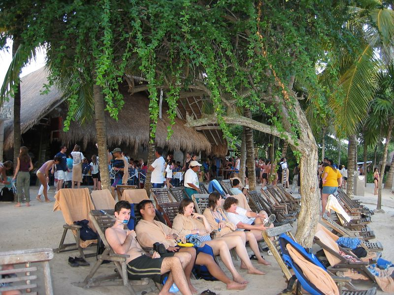 We visited Xel-ha water park, which is a lagoon near Tulum that is well known for snorkeling and tubing.  Lined up on the shore at Xel-ha are Jim, Chris, Katie, Liz and Susan.