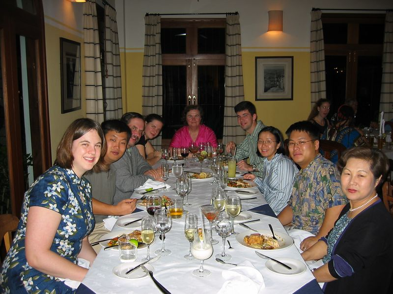 Dinner at arrival on the Mayan Riviera.  Katie, Chris, Dick, Liz, Susan, Jim, Chayong, Solomon, and Sandy.