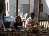 Bob and Mary Wood enjoying a crab feast at Rock Point