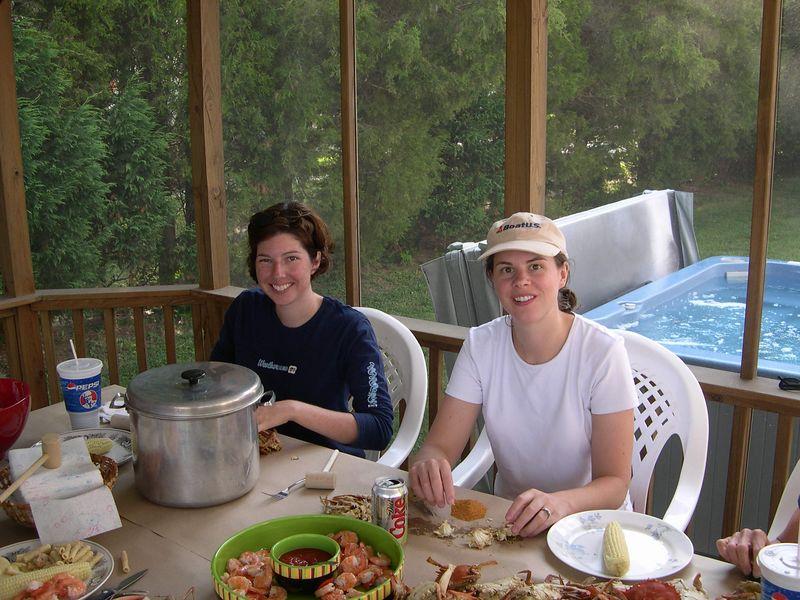 Liz and Renee enjoying crabs at Rock Point