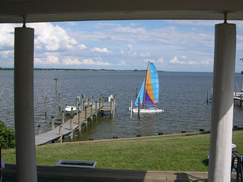 View of Wicomico and Potomac Rivers and Hobie Cat at Rock Point