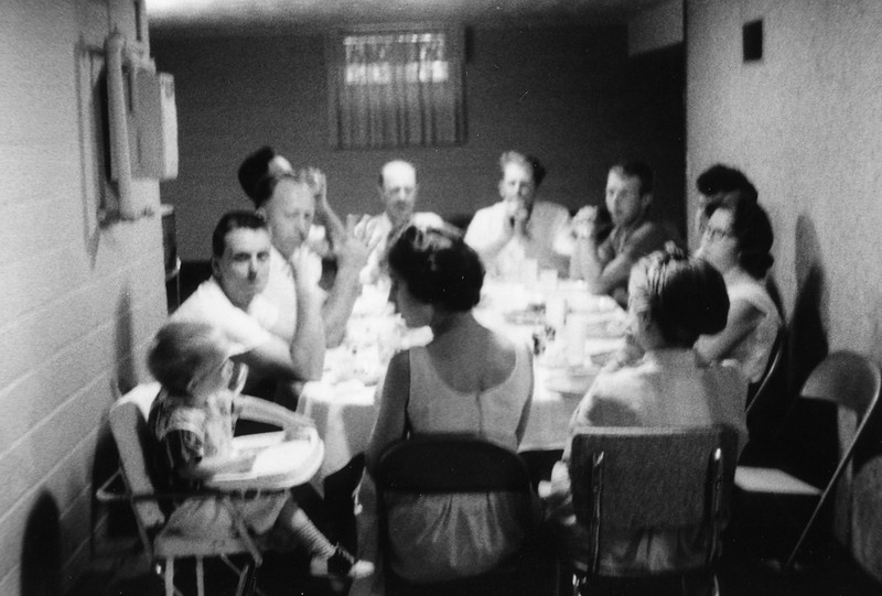 1961?  at Millie & Joe's<br /> Jeff, Bob, Joe, Leonard, Glen, Alverne, David, Nancy, Marilyn, Millie, Myrna