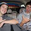 Michael & Nick chilling to tunes in the back seat!