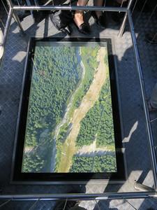 View from glass bottom of Peak 2 Peak Gondola (1430 ft above ground).