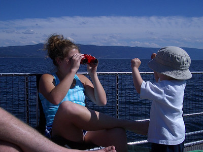 Claire and Jonas on the fishing trip, Flathead Lake.