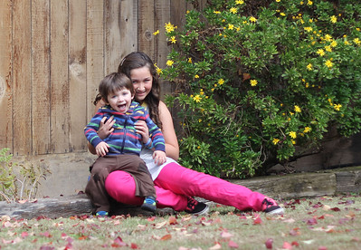 Mateo and Lilly in the yard