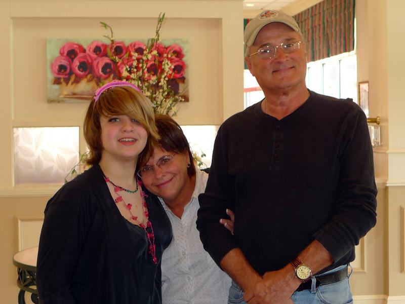 Haley with grandma and grandpa.