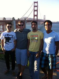 All four of us in front of the Golden Gate bridge