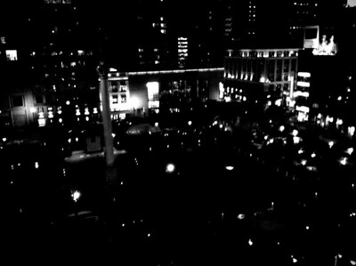 SF Union square from atop the Macy`s building at Cheesecake Factory
