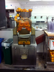 Orange juice machine! Freshly squeezed California oranges is the best part of breakfast