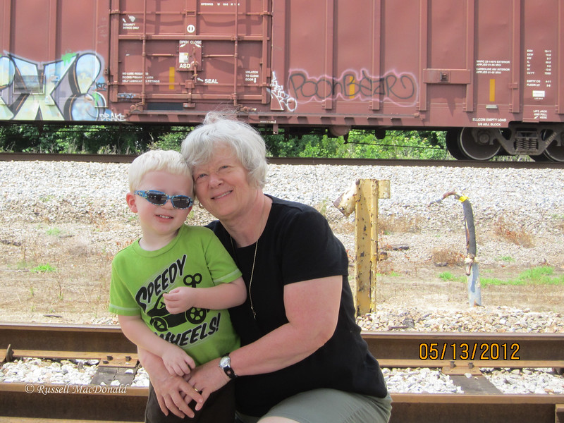 2012 Will and Carol watching trains