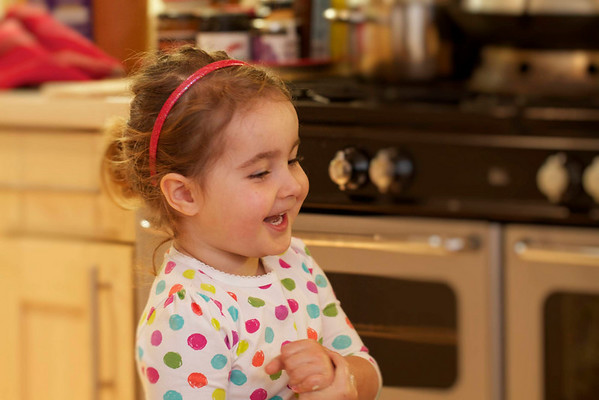 Evie in the kitchen. Easter Sunday