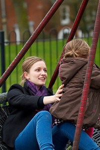 Kate and Evie in the playground
