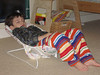 """After Henry announced his intention to """"stay up until the morning,"""" he fell asleep in a baby bouncy seat."""