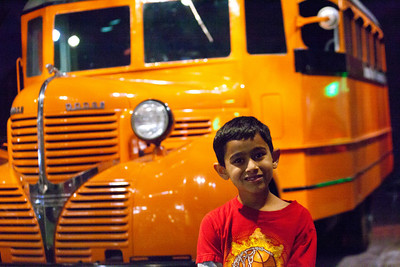Maher likes the old schoolbus.