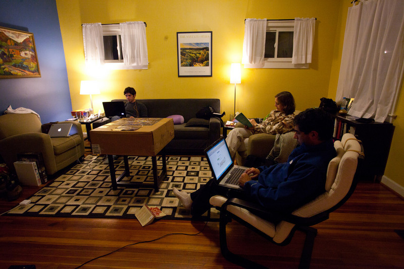 At Rich and Tanya's house.  We liked it.  Funny how there are three people and three laptops open.
