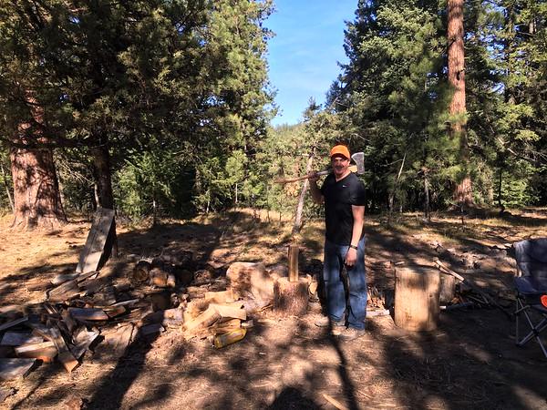 Logger Lee making firewood