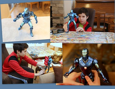 Leo's current fascination - Ironman crafted in high detail with robotic precision.
