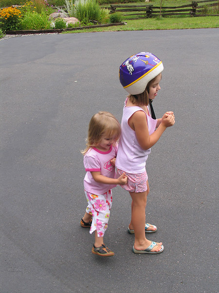 Goofing around in the driveway