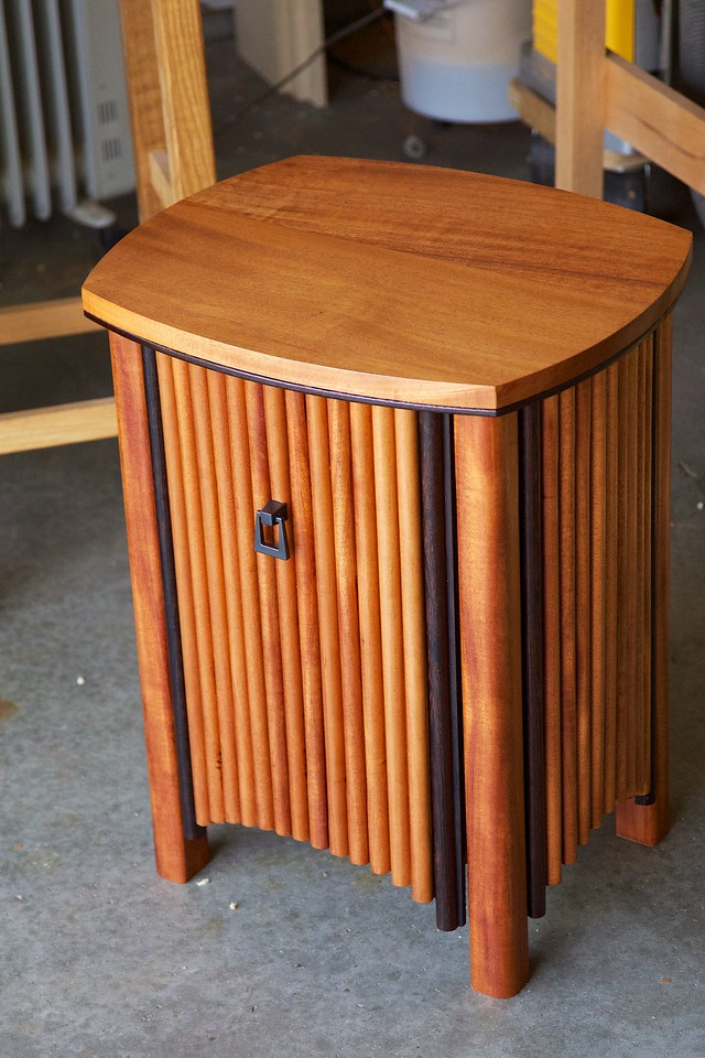 My newest woodworking effort---sort of Art Deco bedside table. I followed a plan published in Woodworking Journal. The wood is mahogany with wenge trim.