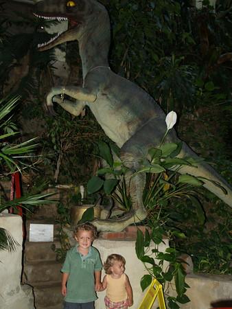 Kids with dinosaur (velociraptor?)