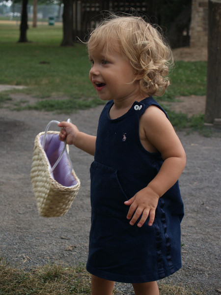 At the park-- Zara & the special basket from Grandma