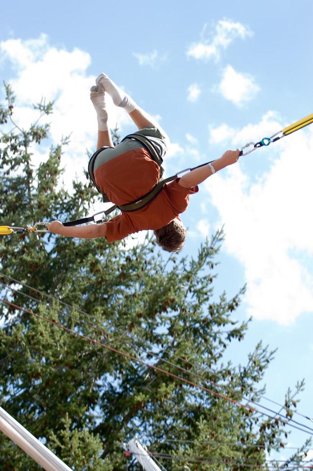 A little trampoline fun at the Jackson Hole ski resort