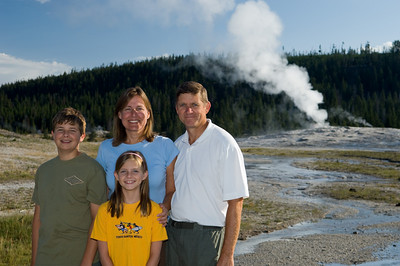 Right after a morning eruption at Old Faithful
