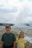 Sara and Kevin in front of the Daisy geyser in the Upper Geyser Basin