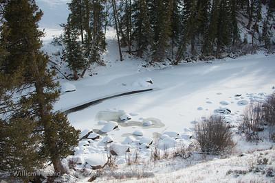 A partially frozen part of the Lamar River.