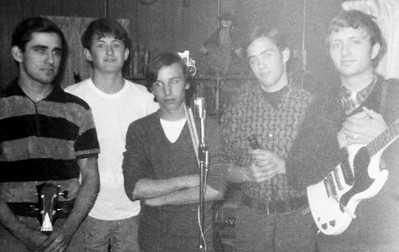 Group practice at Tim's place 1967.  (L-R) Jess, Tim, Ray, Ralph and Steve.