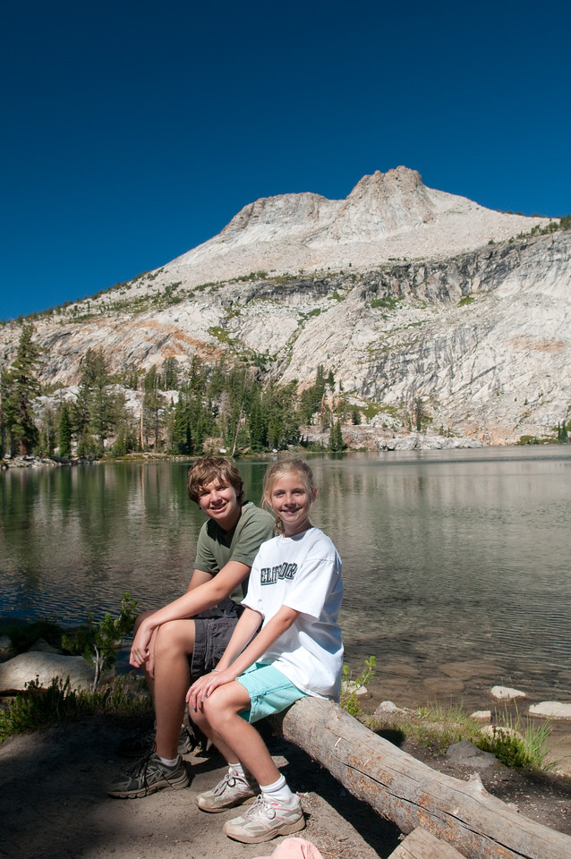 Sitting by May Lake - Mt. Hoffman in the background