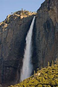 A close-up shot of upper yosemite falls.