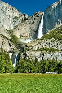 "This is the classic Yosemite falls, upper falls and lower falls.  This picture is shot from the ""day-use"" parking lot where we parked our car each day.  We brought our nikes a got around the park on them.  The park now has a great shuttle bus system for getting around too, but since it was Memorial Day weekend, those buses were packed."