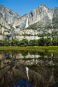 More reflections of Yosemite Falls.  Note the beautiful blue sky.  We had absolutely perfect weather.  The temperature was in the high 70s, low 80s.