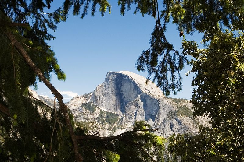 As we got about 2/3 of the way up to the base of the upper falls, we could start to see Half Dome across the valley.