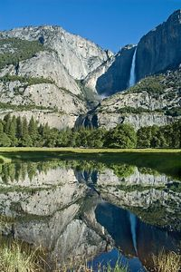 This is day 2, Yosemite Falls reflected in a calm lake.  This was again shot from our day-use parking spot.  Fortunately, we got to the park early enough (around 8:30) that we could get a parking spot because a little later in the morning, all the normal parking was full..