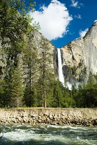 This is an afternoon look at BridalVeil falls with the Merced River in the foreground.